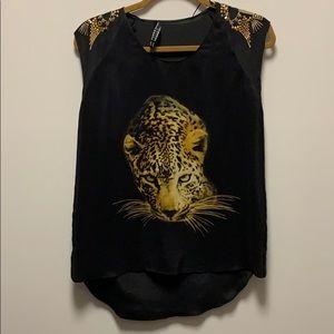 Zara Woman Silk embellished top sz M